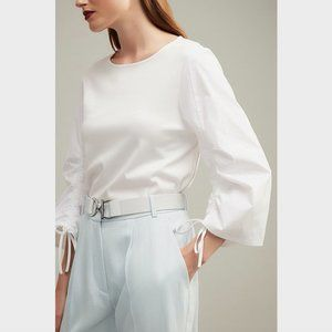 Witchery White Ruched Sleeve Top Blouse Size XS